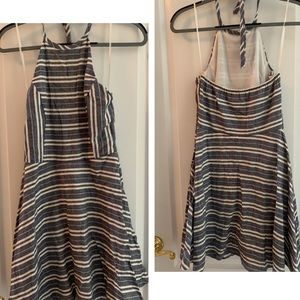 One Clothing Chambray Striped Halter Flare Dress